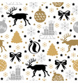 christmas pattern seamless with deer fir and gifts vector image
