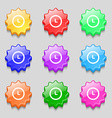 clock icon sign symbol on nine wavy colourful vector image