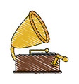 color crayon stripe image old gramophone musical vector image vector image