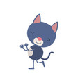colorful caricature with cute cat dancing vector image vector image