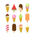 colorful different ice cream collection vector image