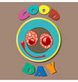 Comic color plate Good Day vector image