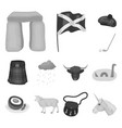 country scotland monochrome icons in set vector image vector image