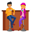 Couple date in bar vector image