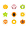 cut fruit icon set vector image vector image