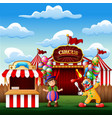 cute a clown and a girl on the circus entrance vector image vector image