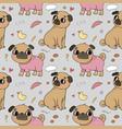 cute cartoon pug pattern cheerful funny dog vector image vector image