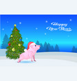cute pig red hat near fir tree decorated colorful vector image vector image