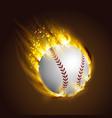 dirty baseball speeding through the air on fire vector image vector image