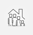 family in house outline icon - stay at home vector image vector image