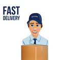 Fast Delivery Messenger with Box vector image