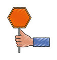 hand with trafic sign vector image vector image