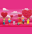 happy kids celebrating a valentine day on the pink vector image vector image
