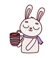 happy valentines day cute bunny with cup vector image vector image
