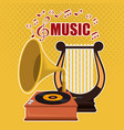 harp music with gramophone vector image