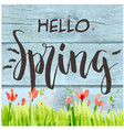 hello spring flower grass blue watercolor backgrou vector image vector image