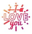 I love You logo badge vector image vector image