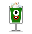kids e-waiste monster face can vector image vector image