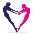 Man and woman body silhouette in heart vector image vector image