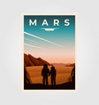 mars fantastic poster background astronaut vector image vector image