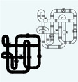 Maze of metal pipes sewerage vector image