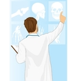 Medical doctor man pointing on tomography vector image vector image