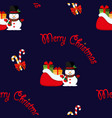 merry christmas snowman with a bag gifts vector image