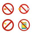 no smoking icon set flat style vector image vector image