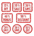 off or sale discount and bonus stamps vector image vector image