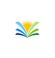 open book sunshine knowledge logo vector image vector image