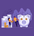 saving or accumulating money concept vector image