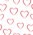 Seamless pattern of red hearts on a white vector image vector image