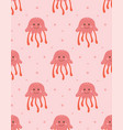 seamless pattern with cute jellyfish vector image vector image