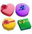 Set gift box with ribbon and bow vector image