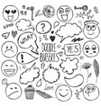 set hand drawn doodle bubbles faces vector image vector image