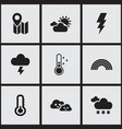 set of 9 editable climate icons includes symbols vector image