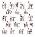 Set of alcohols bottles and wineglasses vector image