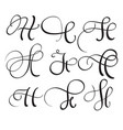 set of art calligraphy letter h with flourish of vector image vector image