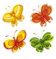 set of decorative ornament butterflies vector image vector image