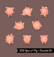 set pig characters for year pig vector image
