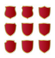 shield gold red icons set shape emblem vector image vector image