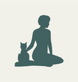 silhouettes of woman and cat vector image