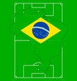 soccer field with map and flag of brazil vector image
