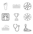 sport doctor icons set outline style vector image vector image