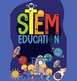 stem education logo with kids wearing engineer