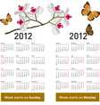 stylish calendar with flowers and butterflies for vector image