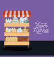 supermarket shelf colorful poster design with vector image