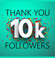 thank you 10k followers card with colorful vector image