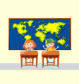 two students in geography class vector image