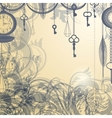 Vintage background with antique clocks and keys vector image